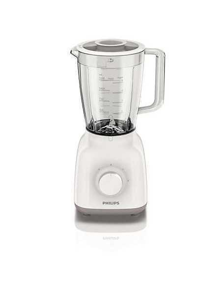 Frullatore Blender con lama a stella e recipiente in plastica rinforzato anti urto Philips HR2100/00, 400W, 2 Velocità e Pulse