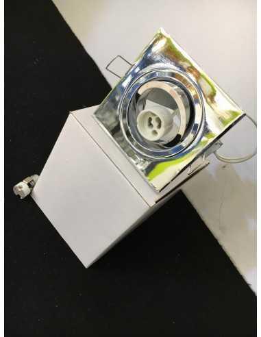Faretto orientabile quadrato cromo lucido Nobile Illuminazione 9088CR|Portalampada GU10 o MR16|Coppolav.it: Faretti ad incasso