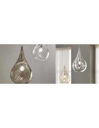 Sospensione Cangini&Tucci GIG1253.1L in vetro liscio di murano ambra|E27|MADE IN ITALY|Coppolav.it: Sospensioni