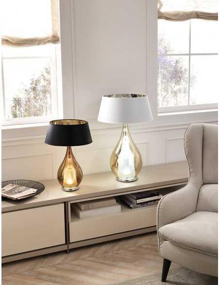 Lume da tavolo Cangini&Tucci LU1303 con vetro di murano trasparente e paralume|E14|MADE IN ITALY|Coppolav.it: Lume da tavolo
