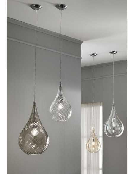 Sospensione Cangini&Tucci Lacrima GIG1253.1L con vetro di murano ambra|E27|MADE IN ITALY|Coppolav.it: Sospensione