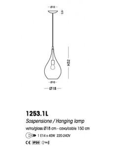 Sospensioni con vetri di Murano ambra Cangini&Tucci Lacrima 1253.1L|E14|MADE IN ITALY|Coppolav.it: Sospensione