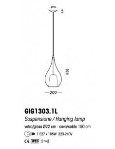 Sospensione Cangini&Tucci Zoe GIG1303.1L con vetro di murano ambra|E27|MADE IN ITALY|Coppolav.it: Sospensione