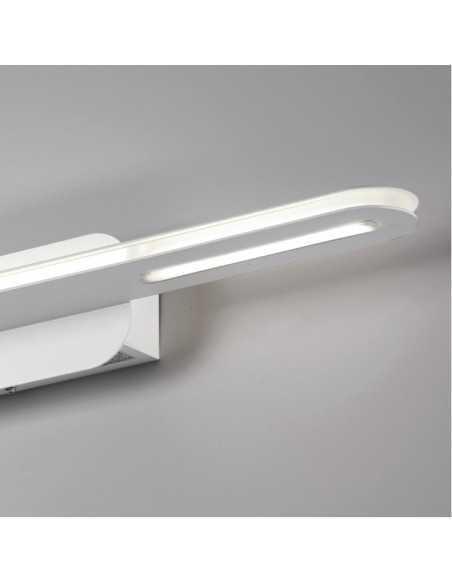 Applique da parete LED Bianco moderno Cattaneo Tratto 754/30A, Sistema LED Integrato 15W, Luce calda, 1500 Lumen, MADE IN ITALY