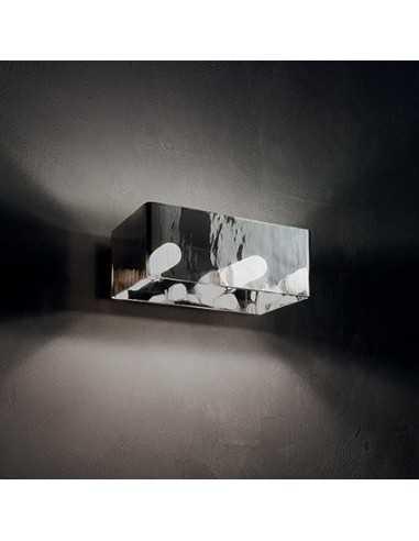 Applique parete Ideal lux Box AP2 cromo, 2 lampadine G9, vetro rifinito in cromo, base cromata|Coppolav.it: Applique