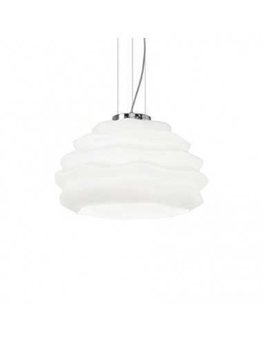 Sospensione Ideal Lux Karma SP1 Small con vetro incamiciato bianco, montatura cromata, 1 E27, IP20 Coppolav.it: Ideal Lux