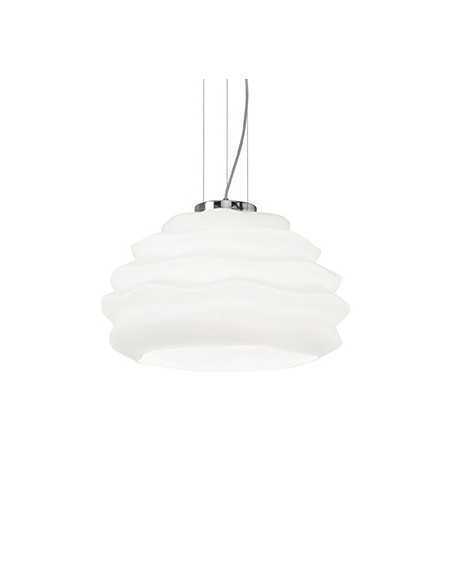 Sospensione Ideal Lux Karma SP1 Small con vetro incamiciato bianco, montatura cromata, 1 E27, IP20|Coppolav.it: Ideal Lux