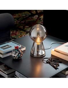 Lume Ideal Lux Birillo TL1 Small con vetro fumè soffiato e base in metallo cromato, 1 E27, IP20 Coppolav.it: Ideal Lux