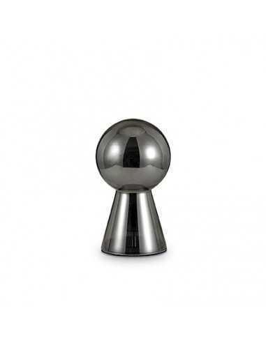 Lume Ideal Lux Birillo TL1 Medium con vetro fumè soffiato e base in metallo cromato, 1 E27, IP20|Coppolav.it: Ideal Lux