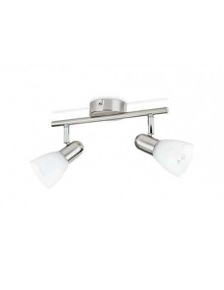 Faretto spot orientabile singolo con vetro Philips Burlap, Cromo satinato, E14