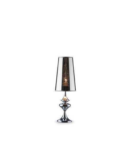 Lume da tavolo con paralume in PVC cromo semi trasparente e corpo in metallo cromo Ideal Lux Alfiere TL1 Small, 1E27|Coppolav.it