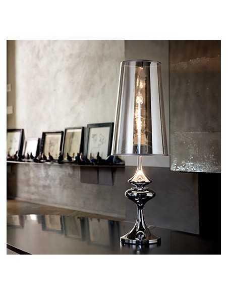 Lume da tavolo con paralume in PVC cromo semi trasparente e corpo in metallo cromo Ideal Lux Alfiere TL1 Big, 1 E27|Coppolav.it