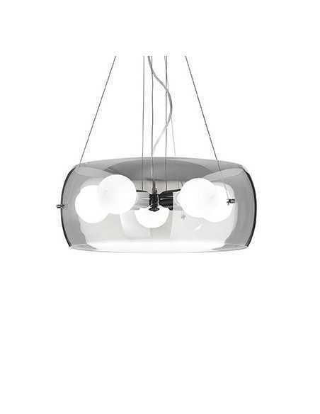 Sospensione con vetro soffiato fume, 5 Luci E27, montatura cromo lucido Ideal Lux Audi-10 SP5: Coppolav.it: Sospensione