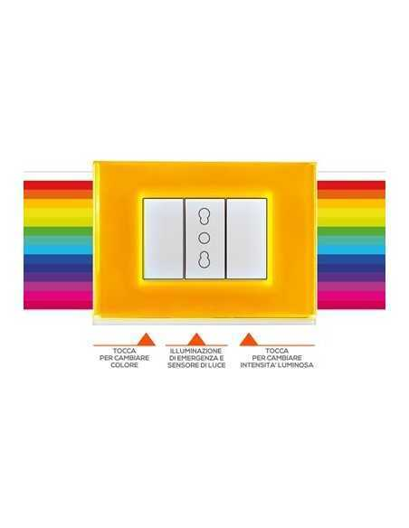 Beghelli Brain Classic Placca luminosa touch con 15 colori e illuminazione di emergenza inclusa