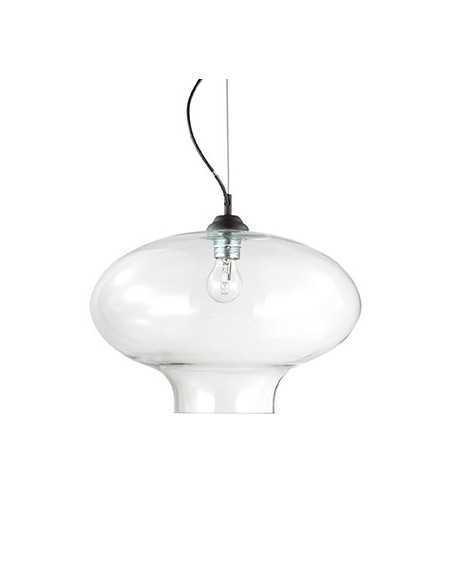 Sospensione con vetro trasparente soffiato e modellato artigianalmente, 1 Luce E27, Ideal Lux Bistro SP1 Round: Coppolav.it