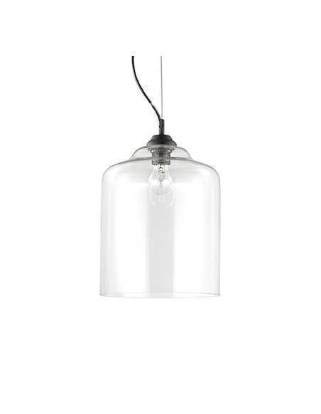 Sospensione con vetro trasparente soffiato e modellato artigianalmente, 1 Luce E27, Ideal Lux Bistro SP1 Square: Coppolav.it