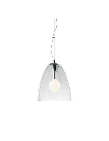 Sospensione con vetro trasparente soffiato e modellato artigianalmente, 1 Luce E27, Ideal Lux Bistro SP1 Plate