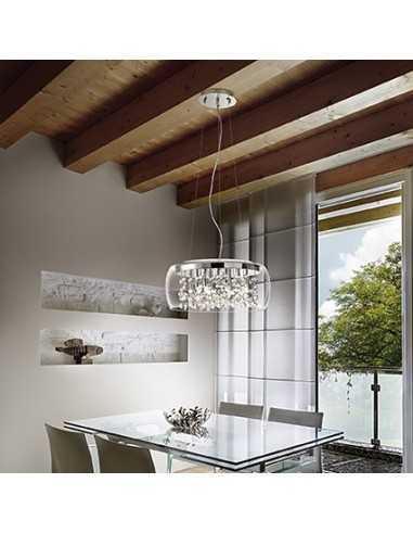 Sospensione con sfere di vetro su fili di metallo, diffusore in vetro soffiato, 5 Luci G9, Ideal Lux Audi-80 SP5
