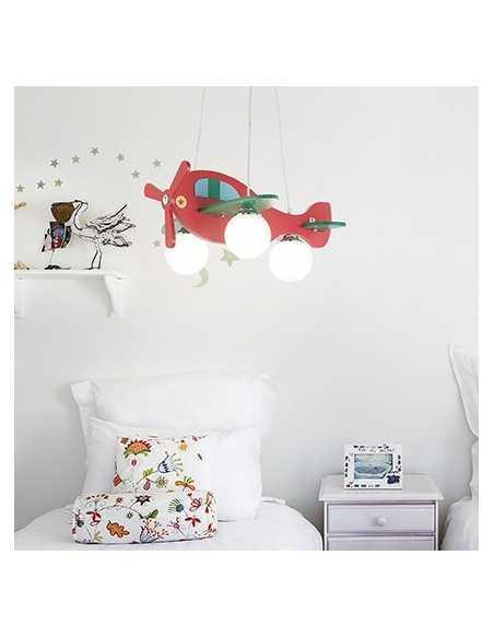Sospensione aeroplano rosso con diffusori in vetro soffiato bianco acidato, 3 luci E14, Ideal lux Avion-2 SP3: Coppolav.it