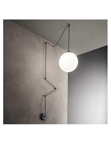 Sospensione con alimentazione elettrica a parete/soffitto, Nera, Vetro soffiato bianco, 1 E27, Ideal Lux Boa SP1|Coppolav.it