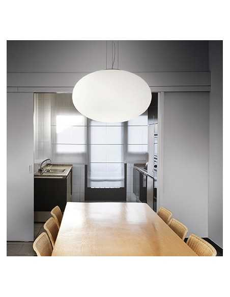 Sospensione con vetro bianco soffiato e montatura in metallo, 1 luce E27, diametro 40 cm, Ideal Lux Candy SP1 D40: Coppolav.it