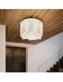 Plafoniera moderna a 6 luci E27 con vetri ondulati bianchi Ideal Lux Compo PL6 Bianca