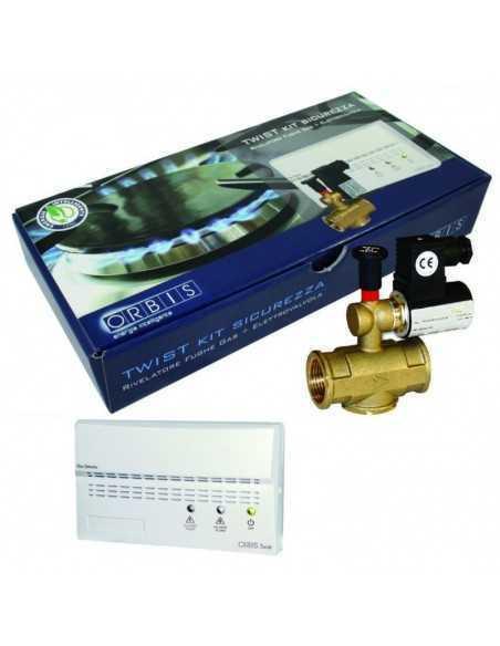 """Rilevatore fughe di gas GPL da parete con elettrovalvola da 1/2"""" Orbis Kit Twist OB515312 con segnalazione ottica ed acustica"""