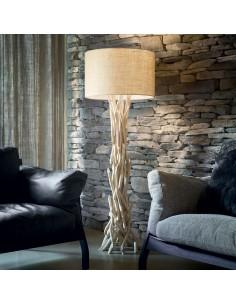 Piantana in legno naturale chiaro intrecciato con paralume Ideal Lux DriftWood PT1