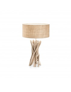 Lume in legno naturale chiaro intrecciato con paralume Ideal Lux DriftWood TL1: Coppolav.it: Lume in legno con paralume
