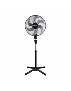 Ventilatore a piantana nero Termozeta Windzeta Force TZWZF01, 3 velocita, base larga e stabile, oscillante: Coppolav.it