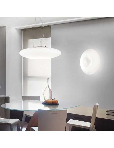 Sospensione a fascia con vetro bianco soffiato Ideal Lux Glory SP3 , diametro 60 cm, 5 E27: Coppolav.it: Sospensione Ideal Lux