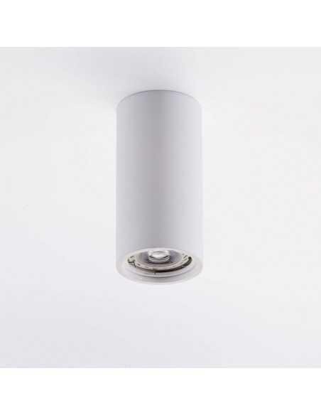 Plafoniera in gesso cilindrica con staffa per cartongesso o laterizio, 1 lampadina GU10 Isyluce 828: Coppolav.it
