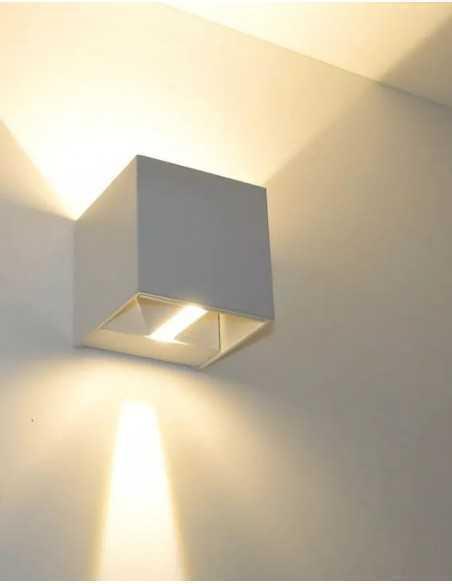 Applique bianco biemissione in alluminio con fascio di luce regolabile IsyLuce 516, LED Integrato da 17W, Luce calda 3000K