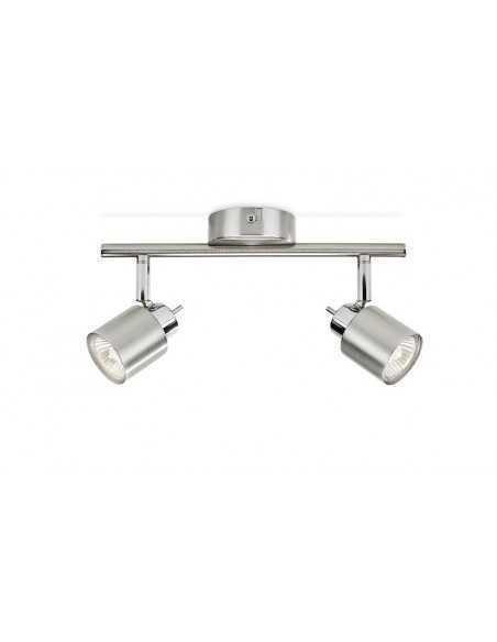 Faretto spot orientabile a 2 luci Philips Limbali, Cromo satinato, GU10