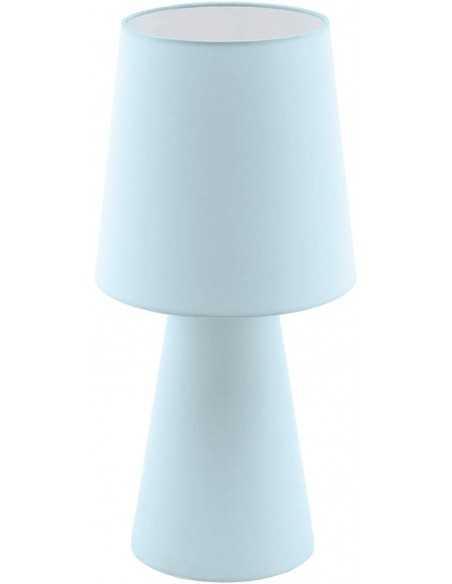 Lume da tavolo in tessuto azzurro effetto lino Eglo Carpara 97432, 2 E27, Interuttore sul cavo: Coppolav.it: Lampada da tavolo