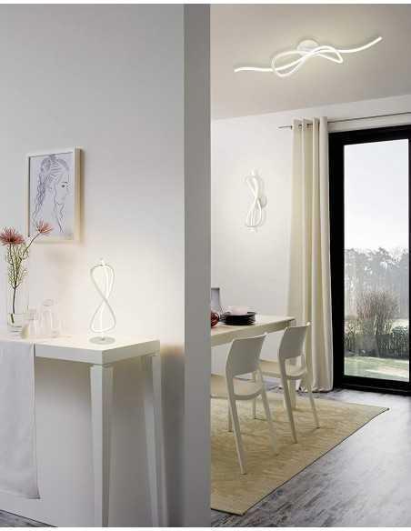 Plafoniera moderna LED a forma di nodo cromo satinato Eglo Novafeltria 97397, Luce calda, 13W, 3000°K, 1300 Lumen