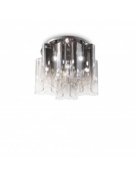 Plafoniera a 6 luci con diffusori in vetro soffiato fumè trasparente Ideal Lux Compo PL6, 6 Luci E27, Diametro 54 cm:Coppolav.it