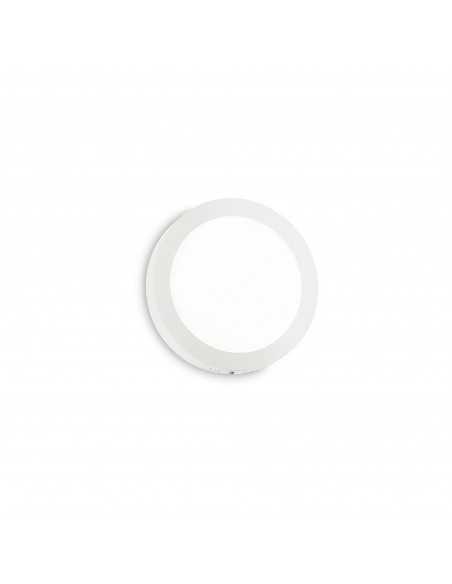 Plafoniera bianca sottile tonda in metallo Ideal Lux Universal Round, 18W, 1050 Lumen, Luce calda 3000K, Diametro 22,5 cm
