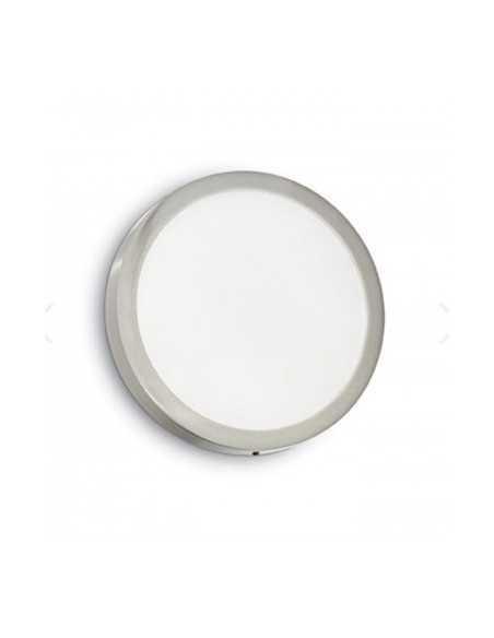 Plafoniera nickel sottile tonda in metallo Ideal Lux Universal Round, 24W, 1400 Lumen, Luce calda 3000K, Diametro 30 cm