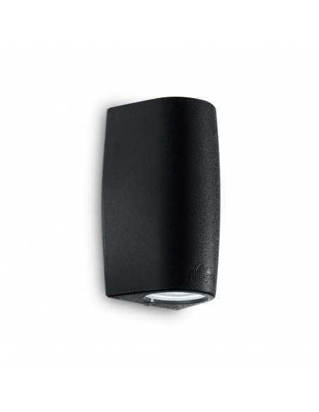Applique da parete per esterno nero biemissione IP55, 2 Luci GU10 Ideal Lux Fumagalli Keope AP2, Struttura in resina