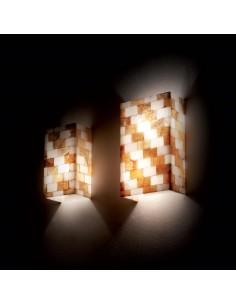 Applique da parete moderno a 2 luci con decorazione a scacchiera bianco e ambra Ideal Lux Scacchi AP2, 2 Luci E27: Coppolav.it