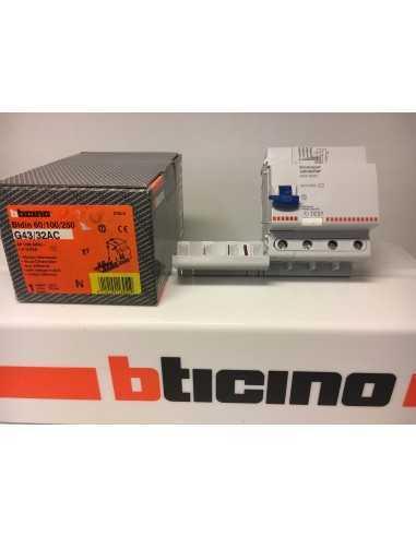Bticino G43/32AC Salvavita Interruttore Differenziale 32A Quadripolare Modulare, 230/400V, 4 Moduli, 4P, IMQ: Coppolav.it