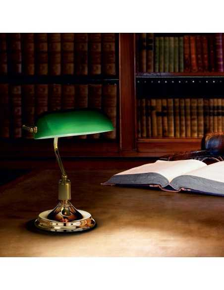 Lume da scrivania Churchill Vintage Ottone Ideal Lux Lawyer TL1, Vetro verde incamiciato, 1 E27, Diametro 26 cm: Coppolav.it