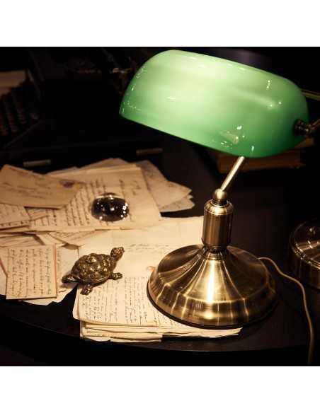 Lume da scrivania Churchill Vintage Brunito Ideal Lux Lawyer TL1, Vetro verde incamiciato, 1 E27, Diametro 26 cm: Coppolav.it