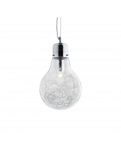Sospensione a forma di lampadina con vetro trasparente decorarto all'interno da un filo di alluminio Ideal Lux Luce Max SP1