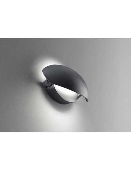 Applique da parete grafite con regolazione direzione flusso luminoso Perenz 6212A, Sistema LED Integrato 12W, Luce calda, IP54