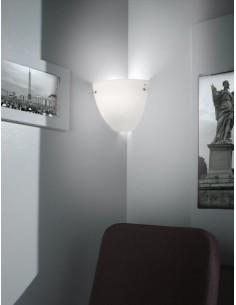 Applique da parete bianco ideale per angoli Vistosi Corner AP BC/ST, Vetro soffiato a mano, 1 E27, MADE IN ITALY, IP20