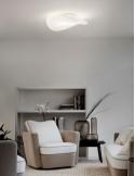 Plafoniera Bianca Moderna e semplice Vistosi Balance PP M, Vetro soffiato a mano, Diametro 46 cm, 2 E27, Struttura in metallo