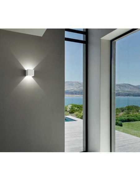 Applique bianco biemissione in alluminio con fascio di luce regolabile IsyLuce 516N, LED Integrato da 17W, Luce naturale 4000K