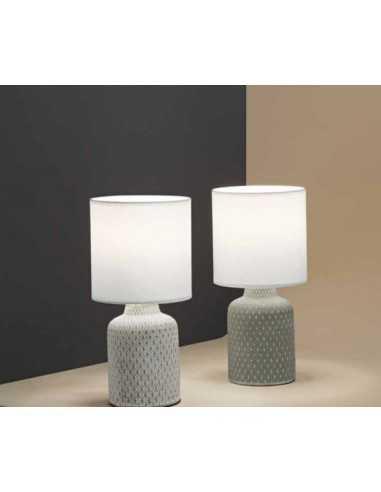Lampada Da Tavolo O Comodino Con Base In Ceramica Beige E Finiture In Rilievo Perenz 6694